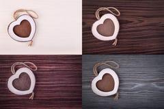 Quadro da madeira do coração Imagem de Stock Royalty Free