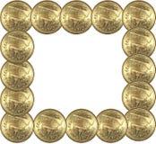 Quadro da moeda de ouro Fotos de Stock