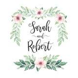 Quadro da mola Convite do casamento da aquarela Botânico feito pre ilustração royalty free