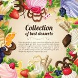 Quadro da sobremesa dos doces Foto de Stock