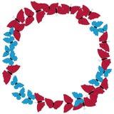 Quadro das borboletas Teste padrão circular, beira Grinalda das borboletas isoladas no branco Fotografia de Stock Royalty Free