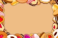 Quadro das cookies e dos doces Fotografia de Stock Royalty Free