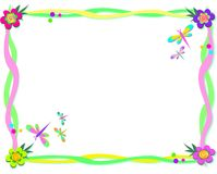 Quadro das fitas, de flores espirais, e de libélulas Fotos de Stock Royalty Free