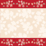 Quadro das flores no fundo vermelho com espaço vazio branco para o te Imagens de Stock