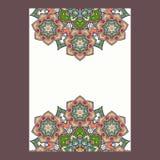 Quadro das mandalas do boho de paisley do indiano, formato vertical Illu do vetor Imagens de Stock