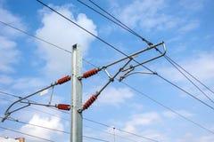 Quadro de alta tensão do cabo elétrico da estrada de ferro de alta velocidade imagens de stock royalty free
