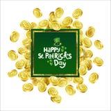 Quadro de anúncio quadrado do verde do vetor Moedas douradas dispersadas que descrevem o trevo com rotulação do dia do St Patrick ilustração royalty free