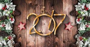 Quadro de ano 2017 novo com pinho verde, as quinquilharias coloridas e as estrelas Imagens de Stock Royalty Free