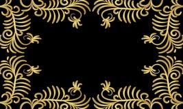 Quadro de arbustos dourados em um fundo preto Imagens de Stock