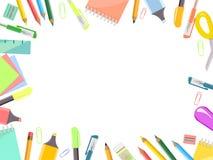 Quadro de artigos do escrit?rio, grupo dos artigos de papelaria ilustração do vetor