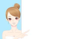 Quadro de avisos da posse da mulher dos cuidados com a pele Imagem de Stock