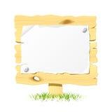 Quadro de avisos de madeira com papel em branco. Vetor. ilustração royalty free