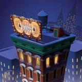 Quadro de avisos do Feliz Natal e do ano novo feliz na construção de New York Fotos de Stock