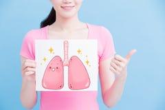 Quadro de avisos do pulmão da saúde da tomada da mulher fotografia de stock
