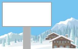 Quadro de avisos e montanhas Fotografia de Stock