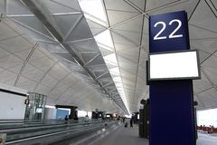 Quadro de avisos em branco no aeroporto Fotografia de Stock