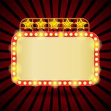 Quadro de avisos retro com luzes de néon Imagens de Stock