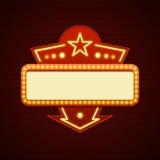 Quadro de avisos retro das ampolas do Signage do cinema do projeto do sinal de Showtime Imagens de Stock Royalty Free