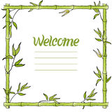 Quadro de bambu da aquarela da folha ou do bastão Sinal bem-vindo Ilustração do vetor Imagem de Stock Royalty Free