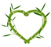 Quadro de bambu do coração fotografia de stock