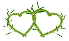 Quadro de bambu do coração dobro imagem de stock