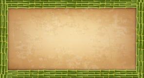 Quadro de bambu verde das varas com placa ou lona higly detalhada do papel do vintage ilustração royalty free