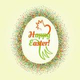Quadro de brilho e texto do ovo da páscoa grande para dentro Imagem de Stock