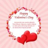 Quadro de cartão redondo feito dos corações Imagens de Stock