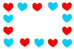 Quadro de corações do papel vermelho e azul com espaço da cópia Fotos de Stock Royalty Free