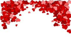 Quadro de corações vermelhos em um fundo branco por um dia de Valentim Imagem de Stock Royalty Free