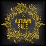 Quadro de desenho floral da mão e mensagem do esboço para a venda do outono Fotografia de Stock