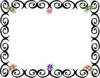 Quadro de espirais pretas e de flores Imagens de Stock