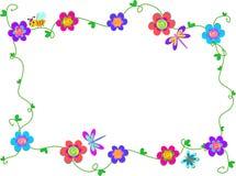 Quadro de flores e de erros espirais Imagens de Stock