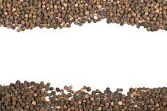 Quadro de grãos de pimenta crus, naturais, não processados da pimenta preta Imagem de Stock