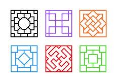Quadro de janela chinês quadrado na arte lisa do vetor ilustração stock
