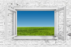 quadro de janela 3d com fundo do céu azul ilustração do vetor