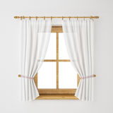 Quadro de janela de madeira do vintage com a cortina isolada no fundo branco Fotos de Stock Royalty Free