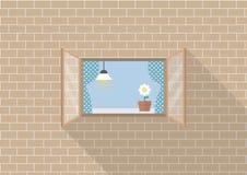 Quadro de janela no fundo do tijolo ilustração do vetor