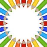 Quadro de lápis coloridos Fotografia de Stock Royalty Free
