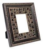 Quadro de madeira antigo da foto isolado no fundo branco imagens de stock royalty free