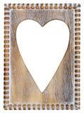 Quadro de madeira do coração Imagens de Stock Royalty Free