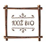 Quadro de madeira do VETOR, molde natural do quadro com palavras escritas à mão: 100 bio Fotos de Stock
