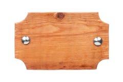 Quadro de madeira feito da madeira clara com rebites do ferro e com um lugar para sua faculdade criadora Isolado Imagem de Stock