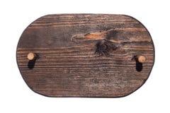 Quadro de madeira feito da madeira escura com mordaça de madeira e com um lugar para sua faculdade criadora Isolado Imagem de Stock Royalty Free
