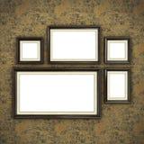 Quadro de madeira no papel de parede da cor Fotografia de Stock Royalty Free