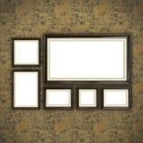 Quadro de madeira no papel de parede da cor Fotos de Stock Royalty Free