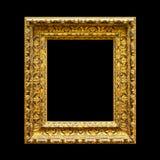 Quadro de madeira ornamentado velho isolado no preto Imagens de Stock Royalty Free