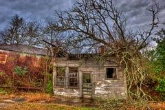 Quadro de madeira posto de gasolina abandonado Anderson, Texas Imagens de Stock