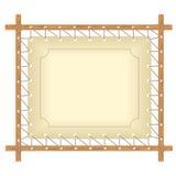 Quadro de madeira que pendura na corda bruta ilustração royalty free