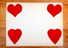 Quadro de mensagens com forma do coração imagem de stock